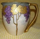 ANTIQUE~VICTORIAN PERIOD~HANDLED PITCHER~HAND PAINTED CHINA~HIGH GOLD RELIEF