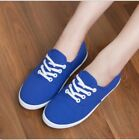 Womens round toe lace up fashion sneakers canvas flat shool shoes Blue US 5