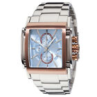 YVES CAMANI ESCAUT Mens Watch Stainless Steel Rosegold Blue Chronograph New