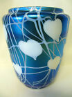 Durand Art Glass Hearts and Vines Wide Mouth Vase Signed Iridescent Blue 6