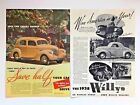 1938 Willys Overland Advertisement Smart Crowd 2 Page Photo Vingage Car Print Ad