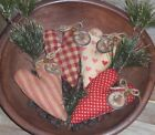 4 Primitive Burgundy Red LOVE Kiss Hearts Bowl Fillers Ornies Ornaments Tucks