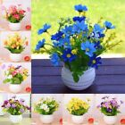 Artificial Plastic Chrysanthemum Fake Flowers Potted Plant Home Outdoor Decor