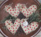 Primitive VALENTINE LOVE RED Floral  Hearts Bowl Fillers Ornies Ornaments Tucks