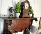 Antique French Oak WALL SHELF Plate Rack HALL TREE Coat Pot Rack Brass Hooks
