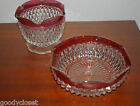 RED FLASH DIAMOND POINT SUGAR AND MAYONNAISE BOWLS BY INDIANA GLASS MINT COND