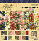 Graphic45 FLORAL SHOPPE COLLECTION PACK scrapbooking 16 PAPERS + STICKER SHEET