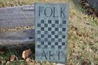 Ex Lg Sage Green Wood Sign Folk Art Game Board Country Primitive Rustic