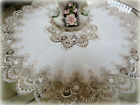 36 X Large Lace Doily Table Topper Taupe Neutrals Antique White Tablecloth