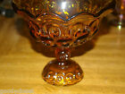 L.E. SMITH AMBER GLASS 1960'S COMPOTE MOON AND STARS UNUSED CONDITION