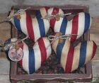 4 Primitive Americana Red White Blue Patriotic USA HEARTS Bowl Fillers Ornies
