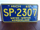 VINTAGE MICHIGAN 1965 WATER WINTER WONDERLAND LICENSE PLATE VGC SP 2307