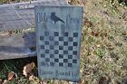 Ex Lg Sage Green Wood Sign Olde Crow Game Board Co. Country Primitive Folk Art