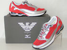 NIB ARMANI SPORT SILVER LEATHER RED MESH LACE UP INFINITY SNEAKERS 65 385
