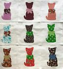 Calico Cat with Bow Quilt Top 6 Blocks Cotton Fabric Appliques Lot of 9