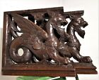 PAIR ARCHITECTURAL GRIFFIN CORBEL BRACKET Antique french wood salvaged carving