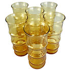 Tall Slim  Amber Glass Tumblers, Mid-Century Modern, 10 oz. capacity, Set of 6