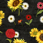 Sunset Blooms cotton quilt fabric by Wilmington Tossed Sunflowers on Black