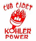 Custom CUB CADET KOHLER POWER Decal for IH Tractor Pull Fans - RED - Free S/H