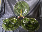 SET of 4 - INDIANA GLASS GREEN THUMBPRINT KINGS CROWN PLATES CUP HOLDER