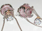 1pc Murano Glass pink oil perfume bottle crystal cork pendant vial Necklace new