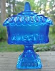 Vintage Blue Jeanette Glass Wedding Box, Footed Candy Dish Compote