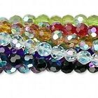 10 Strands Aurora Borealis Faceted Glass 6mm Round Beads Mix