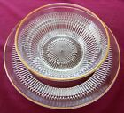 Jeannette Clear Glass w/. Gold Trim Cake Plate or Large Platter