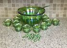 Indiana Glass Iridescent Lime Green Grape Punch Bowl 12 Cups Ladle 11 Hooks