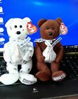Ty Beanie Babies Hugsy and Cocoa Bean with Hershey Kisses 2007 lot of to. MWMT