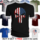 The Punisher American Flag T Shirt Military Skull US Army USA Pride Distressed