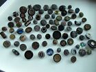Antique Black Buttons with Designs--misc. lot