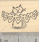 Valentine Cat Rubber Stamp with Heart Cut Outs H29311 WM