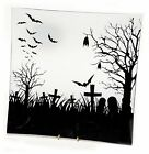 Glass Halloween Plate Tray Bat Graveyard Design 115 square NEW HO6672
