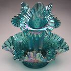 Fenton Art Glass Diamond Lace Three Horn Epergne Teal Marigold made 1989