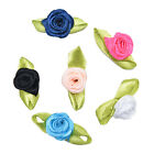 100 Pcs Rose Ribbon DIY Applique Accessiories with Leaf Fabric Flower for HU