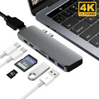 7in1 USB C Hub Dual TypeC Multiport Adapter Card Reader HDMI For MacBook Pro lot
