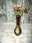 FRENCH GLASS BEADED FLOWERS CHIC BOHEMIAN HP ART GLASS AMETHYST VASE SHABBY