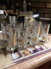 Vtg Mid Century Set 8 Drinking Ice Tea Glasses Barware Caddy Frosted Gold Leaves