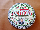 WELCOME TO DETROIT BARACK OBAMA LIMITED EDITION PIN BACK BUTTON d166