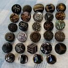 Assortment of 29 Vintage and Antique Molded Black Glass Buttons w Luster