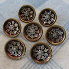 Set of 7 Cupped Steel Buttons w Stamped Brass Flower Embellishment