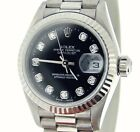 Ladies Rolex Solid 18K White Gold Datejust President w/Black Diamond Dial 79179