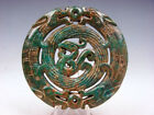 Vintage Nephrite Jade Carved LARGE Pendant Double Curly Dragon Phoenix #05271807
