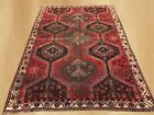 Antique Hand Knotted Distressed Persian Shiraz Shirazi Wool Area Rug 8 x 5 Ft