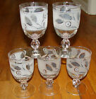 6 Vintage Silver Wheat Flower Tumblers Goblets LIBBEY Beverage Retro Glasses