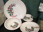 Fiesta Ware  Holly and Ribbon 5 Piece Place Setting  Christmas Dish Set 1993