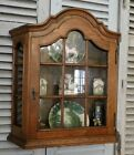 Antique French Country Wall Display Curio Cabinet ~ Divided Glass