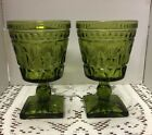 Set of 2 Vtg Green Mt. Vernon Water Goblet Footed Pedestal Indiana Glass Co
