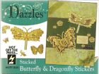 Stacked Dazzles Gold Stickers Butterfly Dragonflies HOTP 4 x 9 33 Pieces NEW